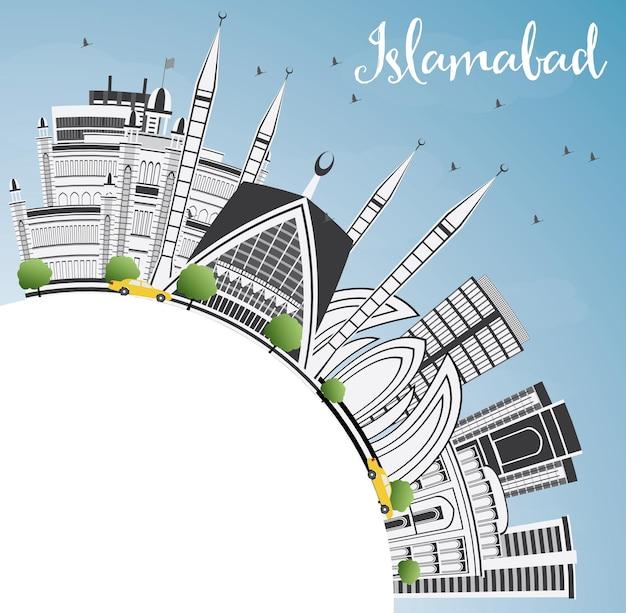 Skyline de islamabad com edifícios de cinza, céu azul e espaço de cópia. ilustração vetorial. viagem de negócios e conceito de turismo com arquitetura histórica. imagem para cartaz de banner de apresentação e site.