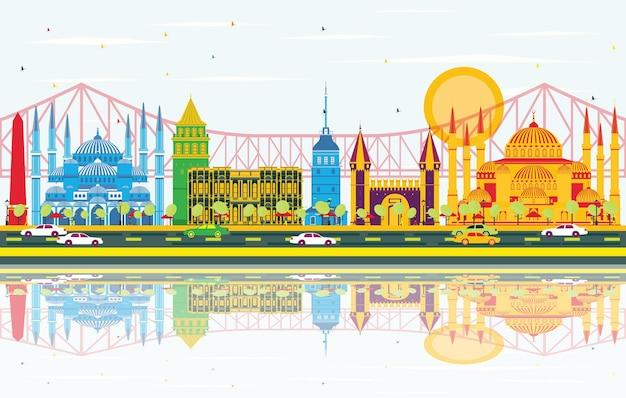 Skyline de istambul com pontos de referência de cor, céu azul e reflexos. ilustração vetorial. viagem de negócios e conceito de turismo com a cidade de istambul. imagem para cartaz de banner de apresentação e site.