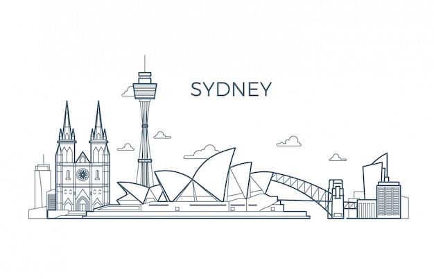 Skyline de linha da cidade de sydney com edifícios e vitrines de arquitetura.