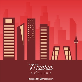 Skyline de madrid em tons vermelhos