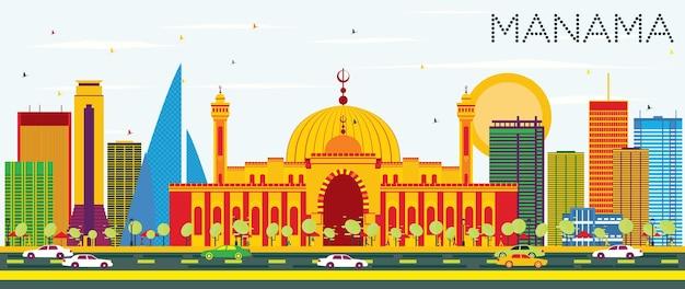 Skyline de manama com edifícios de cor e céu azul. ilustração vetorial. viagem de negócios e conceito de turismo com arquitetura moderna. imagem para cartaz de banner de apresentação e site.