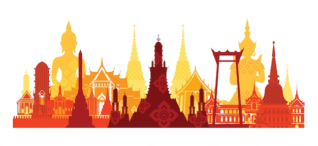 Skyline de marco da tailândia, atração de viagens, cultura tradicional