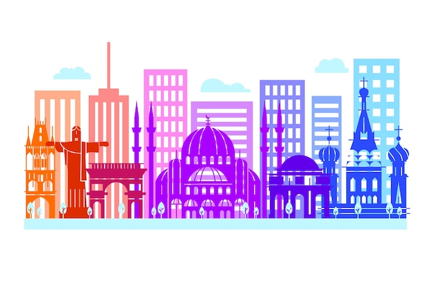 Skyline de marcos coloridos criativos