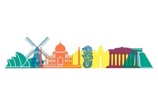 Skyline de marcos coloridos em todo o mundo