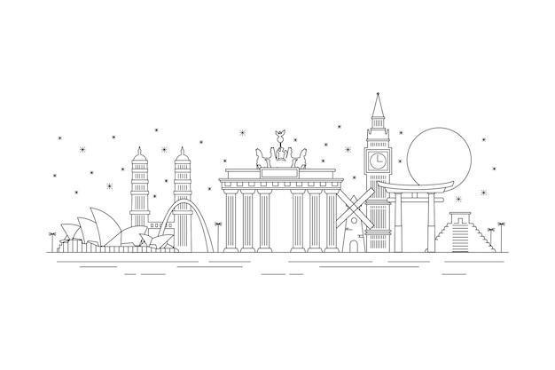 Skyline de marcos de contorno criativo