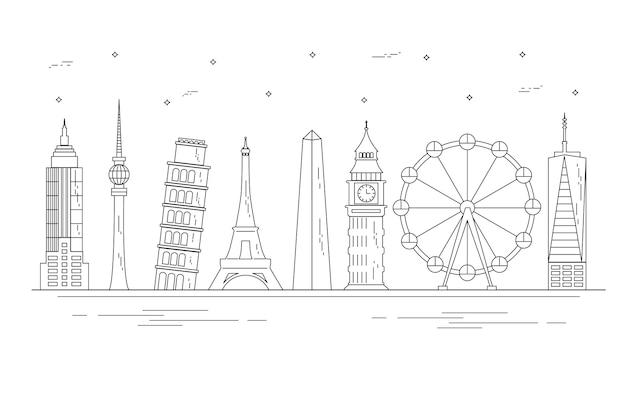 Skyline de marcos de contorno em todo o mundo