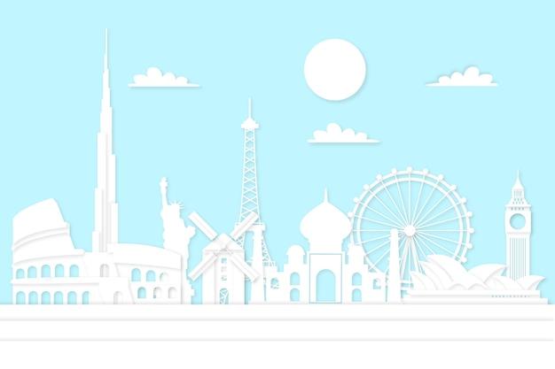 Skyline de marcos turísticos em estilo de jornal