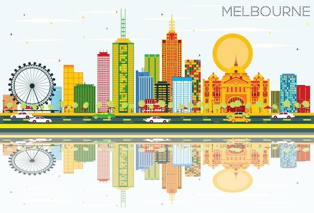 Skyline de melbourne com edifícios de cor, céu azul e reflexos. ilustração vetorial. viagem de negócios e conceito de turismo com arquitetura moderna. imagem para cartaz de banner de apresentação e site.