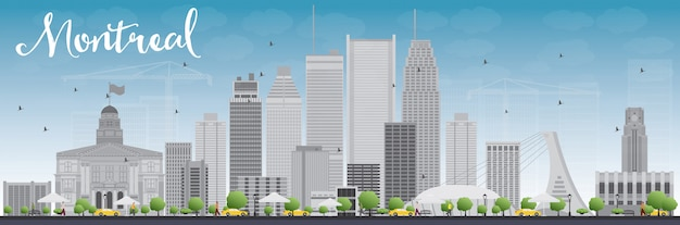 Skyline de montreal com edifícios cinza e céu azul