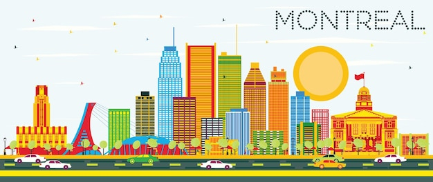 Skyline de montreal com edifícios de cor e céu azul. ilustração vetorial. viagem de negócios e conceito de turismo com arquitetura histórica. imagem para cartaz de banner de apresentação e site.