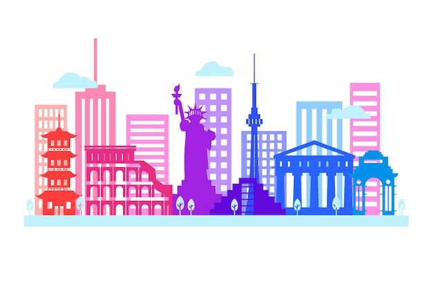 Skyline de monumentos coloridos bonitos