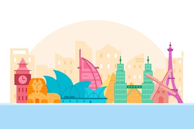 Skyline de monumentos coloridos com o big ben