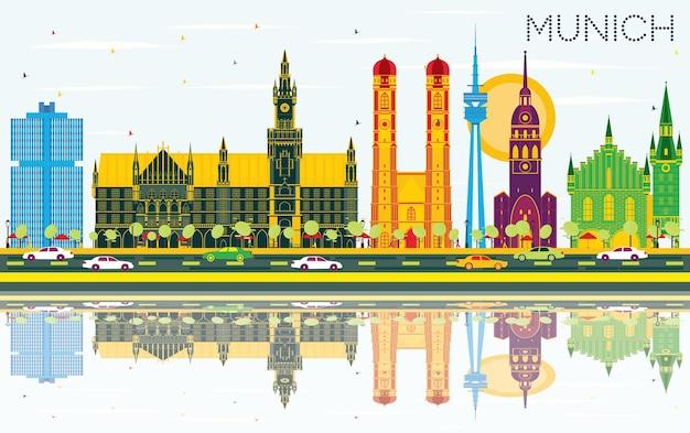 Skyline de munique alemanha com edifícios de cor, céu azul e reflexos. ilustração vetorial. viagem de negócios e conceito de turismo com arquitetura histórica. paisagem urbana de munique com pontos turísticos.