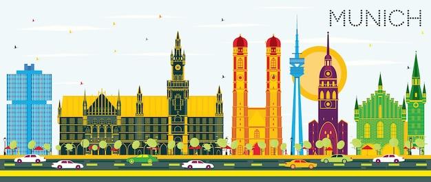 Skyline de munique alemanha com edifícios de cor e céu azul. ilustração vetorial. viagem de negócios e conceito de turismo com arquitetura histórica. paisagem urbana de munique com pontos turísticos.