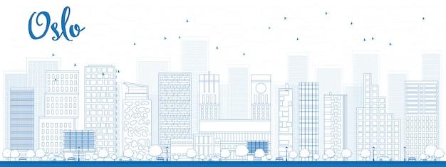 Skyline de oslo de contorno com prédio azul