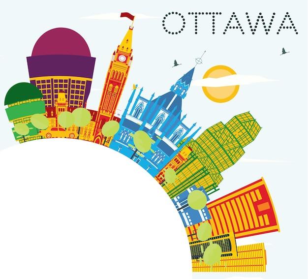 Skyline de ottawa com edifícios de cor, céu azul e espaço de cópia. ilustração vetorial. viagem de negócios e conceito de turismo com arquitetura moderna.