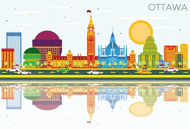 Skyline de ottawa com edifícios de cor, céu azul e reflexos. ilustração vetorial. viagem de negócios e conceito de turismo com arquitetura moderna. imagem para cartaz de banner de apresentação e site.