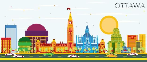 Skyline de ottawa com edifícios de cor e céu azul. ilustração vetorial. viagem de negócios e conceito de turismo com arquitetura moderna. imagem para cartaz de banner de apresentação e site.