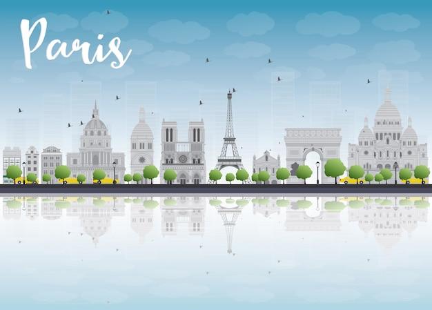 Skyline de paris com marcos cinza e céu azul.
