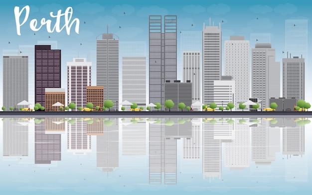 Skyline de perth, com edifícios de cinza, céu azul e reflexão