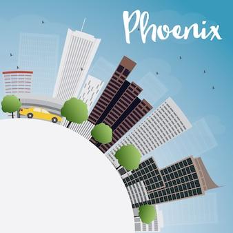 Skyline de phoenix com edifícios de cinza, azul céu e espaço de cópia