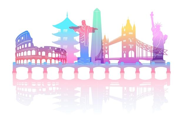 Skyline de pontos de referência coloridos gradiente