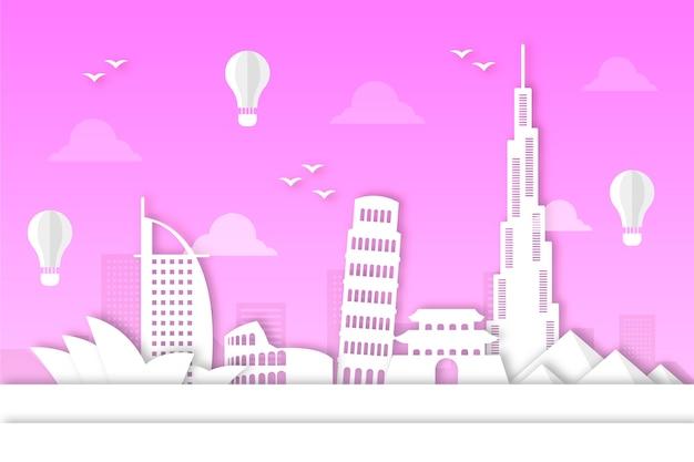 Skyline de pontos de referência em design de estilo de papel