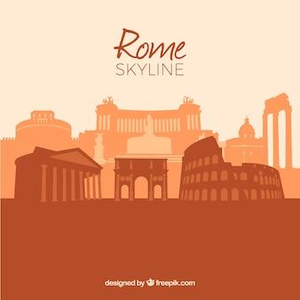 Skyline de roma em cores quentes