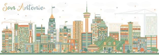 Skyline de san antonio abstrata com edifícios de cor. ilustração vetorial. viagem de negócios e conceito de turismo com arquitetura moderna. imagem para cartaz de banner de apresentação e site.