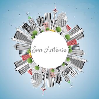 Skyline de san antonio com edifícios de cinza, céu azul e espaço de cópia. ilustração vetorial. viagem de negócios e conceito de turismo com arquitetura moderna. imagem para cartaz de banner de apresentação e site.