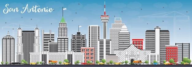 Skyline de san antonio com edifícios de cinza e azul céu. ilustração vetorial. viagem de negócios e conceito de turismo com arquitetura moderna. imagem para cartaz de banner de apresentação e site.