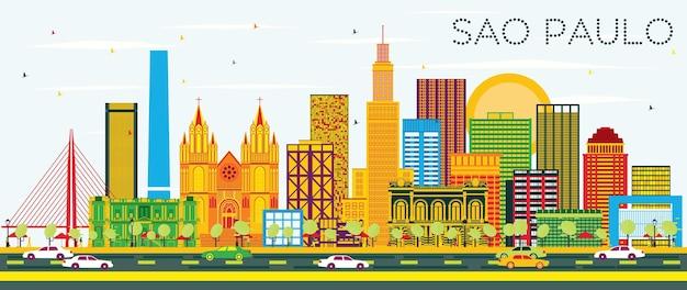 Skyline de são paulo com edifícios coloridos e céu azul. ilustração vetorial. viagem de negócios e conceito de turismo com edifícios modernos. imagem para cartaz de banner de apresentação e site.