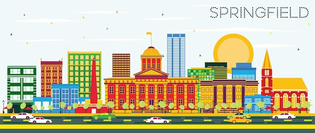 Skyline de springfield com edifícios de cor e céu azul. ilustração vetorial. viagem de negócios e conceito de turismo. imagem para cartaz de banner de apresentação e site.