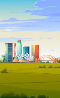 Skyline de sydney, austrália com casa de ópera