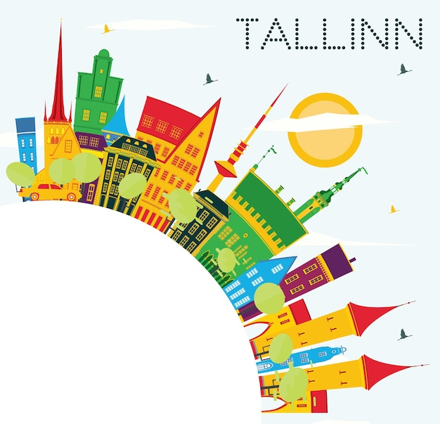 Skyline de tallinn com edifícios de cor, céu azul e espaço de cópia. ilustração vetorial. viagem de negócios e conceito de turismo com arquitetura histórica.