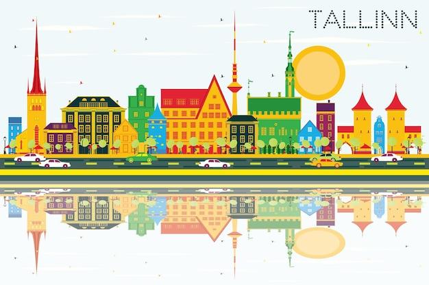 Skyline de tallinn com edifícios de cor, céu azul e reflexos. ilustração vetorial. viagem de negócios e conceito de turismo com arquitetura histórica. imagem para cartaz de banner de apresentação e site.