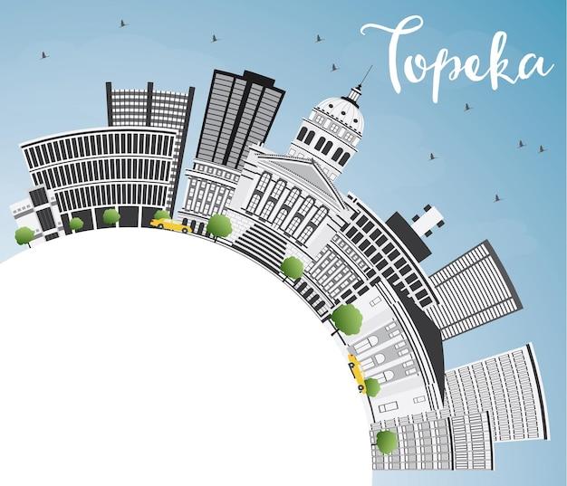 Skyline de topeka com edifícios de cinza, céu azul e espaço de cópia. ilustração vetorial. viagem de negócios e conceito de turismo com arquitetura moderna. imagem para cartaz de banner de apresentação e site.