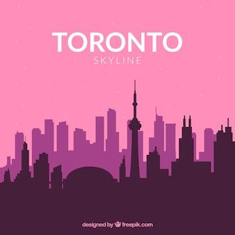 Skyline de toronto em tons de rosa