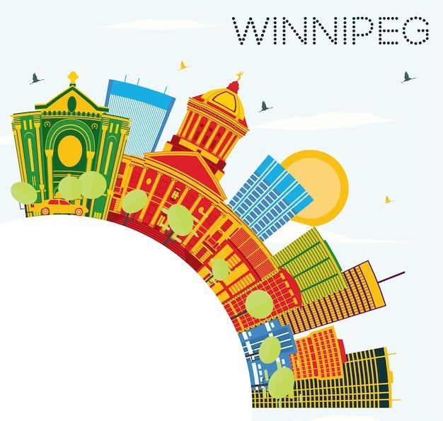 Skyline de winnipeg com edifícios de cor, céu azul e espaço de cópia. ilustração vetorial. viagem de negócios e conceito de turismo com arquitetura moderna. imagem para cartaz de banner de apresentação e site.