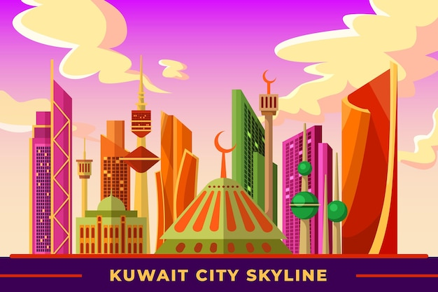 Skyline do kuwait colorido