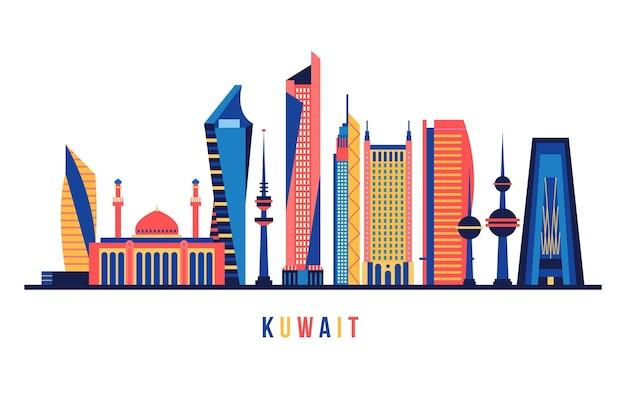 Skyline do kuwait com cores diferentes