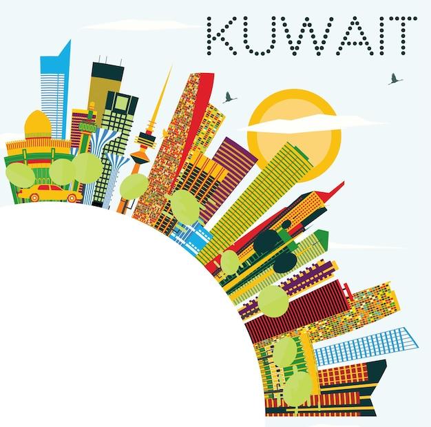Skyline do kuwait com edifícios de cor, céu azul e espaço de cópia. ilustração vetorial. viagem de negócios e conceito de turismo com arquitetura moderna. imagem para cartaz de banner de apresentação e web.