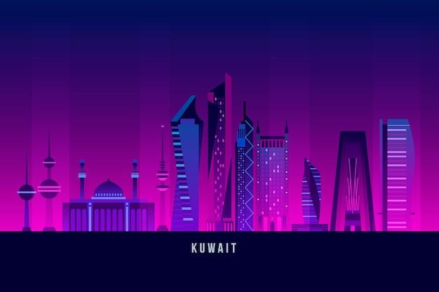 Skyline do kuwait com várias cores escuras