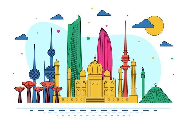 Skyline do kuwait com várias cores