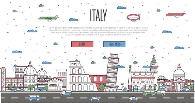 Skyline italiana com monumentos famosos nacionais