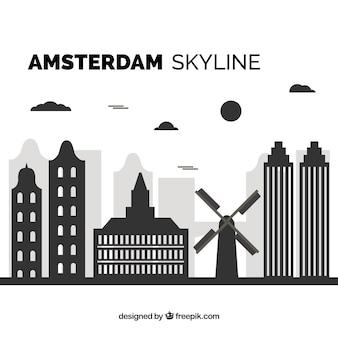 Skyline preto de amsterdã