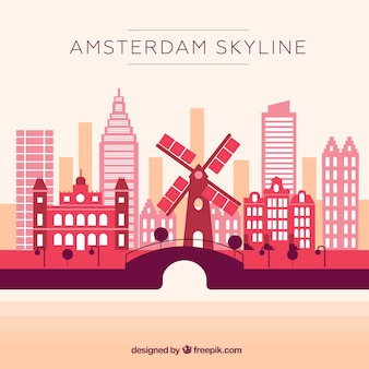 Skyline rosa de amsterdã
