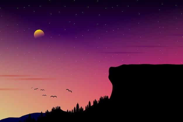 Skyline roxo com noite estrelada e paisagem de floresta de pinheiros