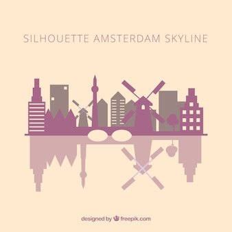Skyline silhueta de amsterdam