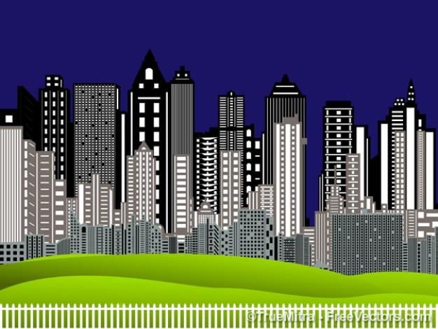 Skylines da cidade com luzes
